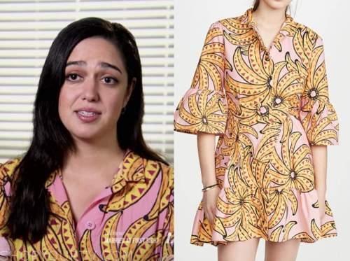 christina, pink banana print shirt dress, married at first sight us
