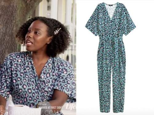 married at first sight, us, amani, green leopard jumpsuit