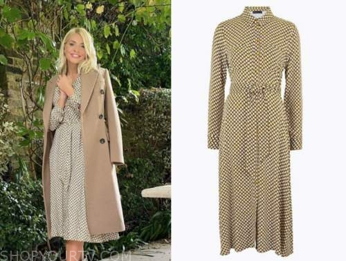 holly willoughby, geometric midi dress,