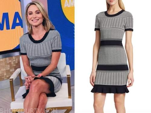 amy robach, striped knit dress, good morning america