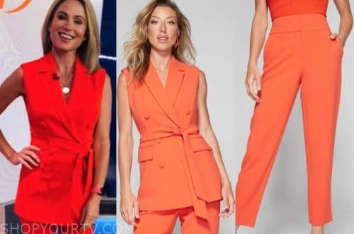 good morning america, amy robach, red sleeveless blazer vest and pants