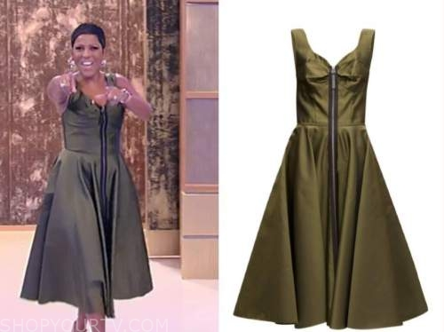 tamron hall, tamron hall show, green zip-front midi dress