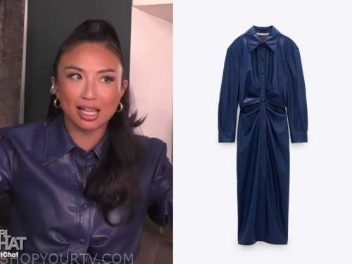 jeannie mai, navy blue leather shirt dress, the real