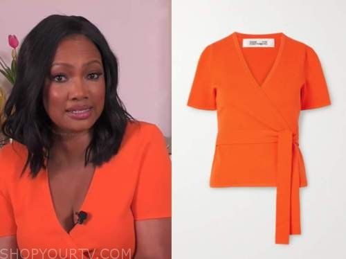 Garcelle Beauvais, orange knit wrap top, the real