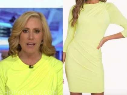 melissa francis, outnumbered, yellow ruched dress