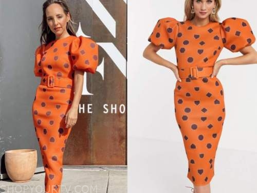 lilliana vazquez, orange printed puff sleeve dress