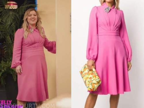 kelly clarkson, kelly clarkson show, pink embellished collar dress