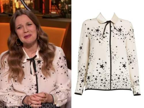 drew barrymore, the talk, ivory and black star print collar bow blouse