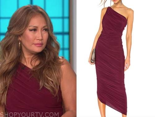 carrie ann inaba, the talk, burgundy ruched one-shoulder dress