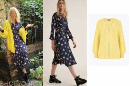 holly willoughby, navy floral shirt dress, yellow cardigan sweater