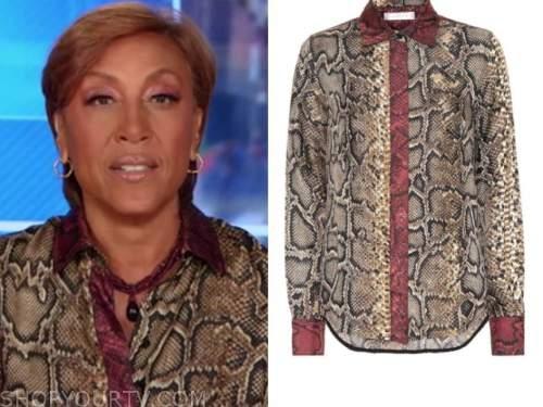 robin roberts, good morning america, snakeskin contrast trim silk shirt