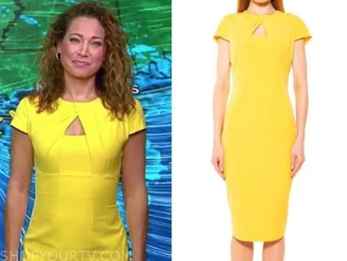 ginger zee, good morning america, yellow keyhole sheath dress