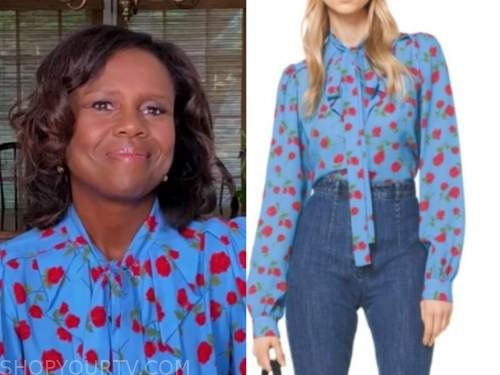 deborah roberts, good morning america, blue and red floral blouse