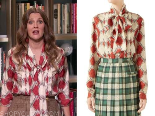 drew barrymore, drew barrymore show, red printed tie neck silk blouse