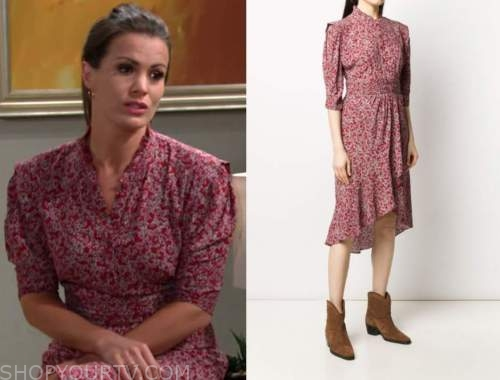 chelsea newman, melissa claire egan, the young and the restless, red printed dress