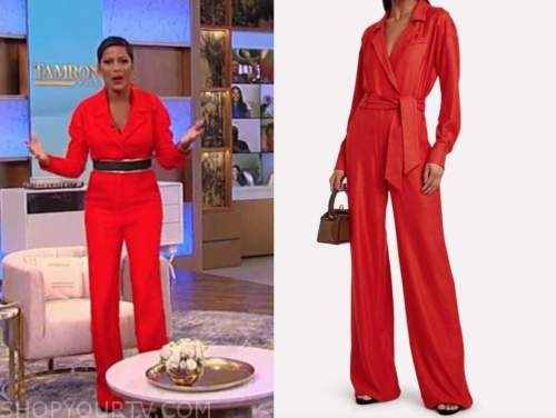 tamron hall show, tamron hall, red utility jumpsuit