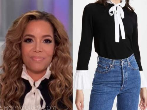 sunny hostin, black and white tie neck ruffle sweater, the view