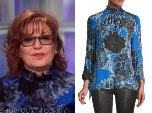 the view, joy behar, blue and black printed mock neck blouse