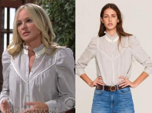 sharon newman, sharon case, the young and the restless, blue striped shirt