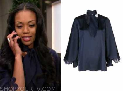 amanda sinclair, mishael morgan, the young and the restless, blue tie neck blouse