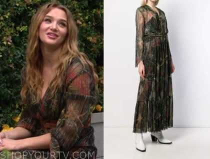 summer newman, hunter king, the young and the restless, floral maxi dress
