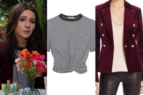 tessa porter, cait fairbanks, the young and the restless, velvet blazer, striped top