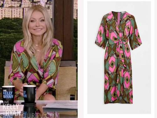 live with kelly and ryan, kelly ripa, pink and green printed midi dress