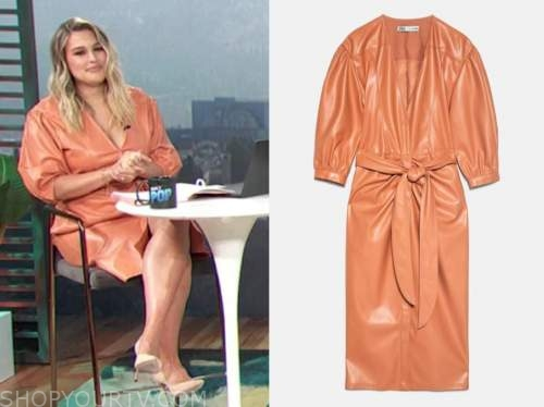 carissa culiner, orange leather dress, e! news daily pop