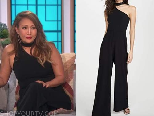 carrie ann inaba, black choker asymmetric jumpsuit, the talk