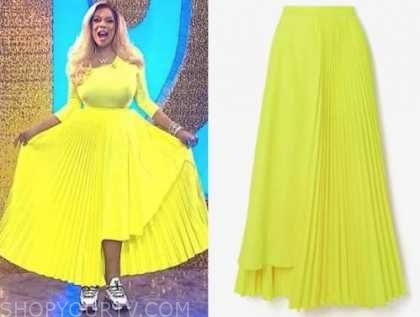 wendy williams, the wendy williams show, neon yellow pleated skirt