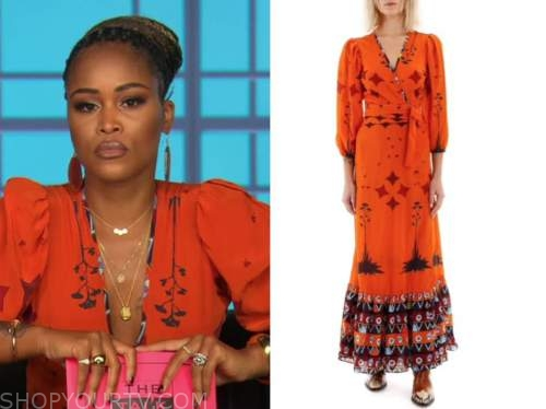 eve, the talk, orange star print wrap dress