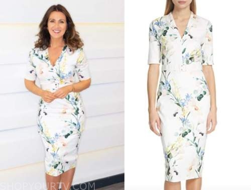 susanna reid, white floral sheath dress, good morning britain