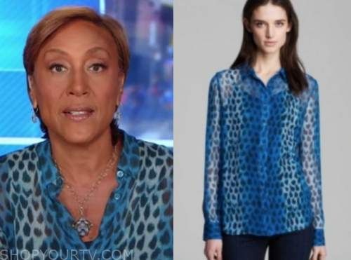 robin roberts, good morning america, blue leopard blouse