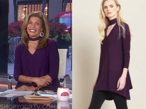the today show, hoda kotb, purple choker cutout tunic top