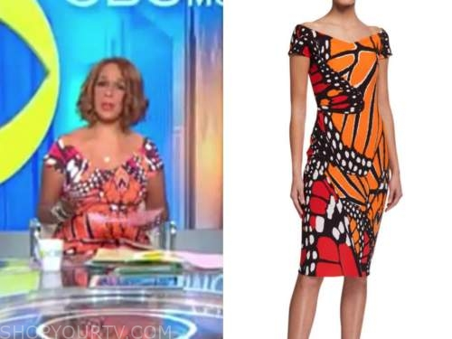 gayle king, orange butterfly print dress, cbs this morning