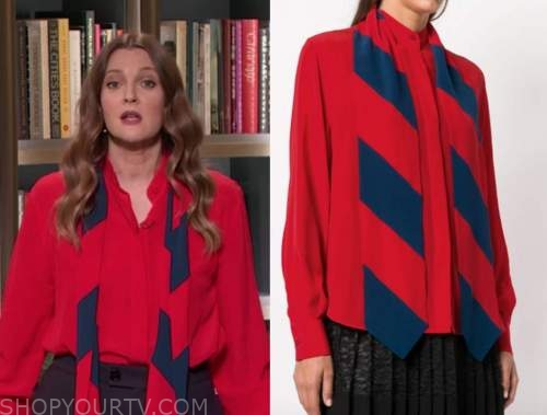 drew barrymore, drew barrymore show, red and blue stripe tie neck blouse
