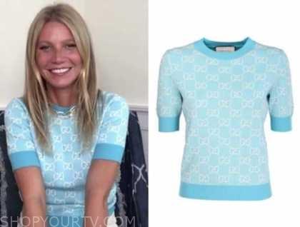 Gwyneth paltrow, blue short sleeve sweater, drew barrymore show