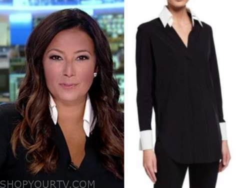 julie banderas, america's newsroom, black and white contrast collar shirt