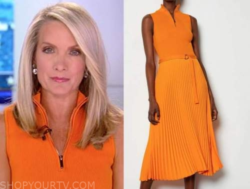 dana perino, the daily breifing, orange pleated knit zip dress
