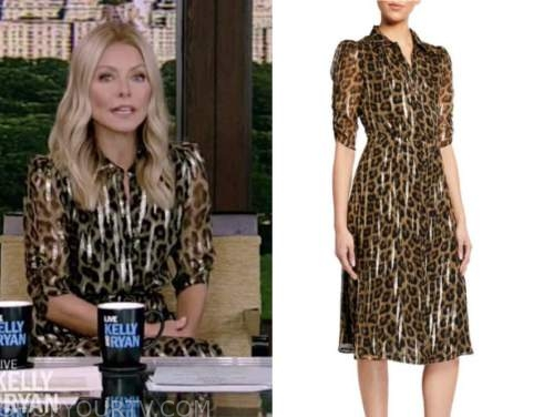kelly ripa, live with kelly and ryan, metallic leopard shirt dress