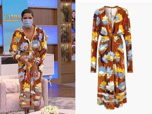 tamron hall, tamron hall show, brown floral draped dress