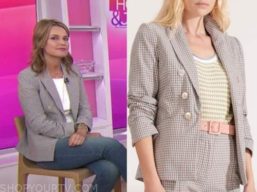 savannah guthrie, gingham double breasted blazer, the today show