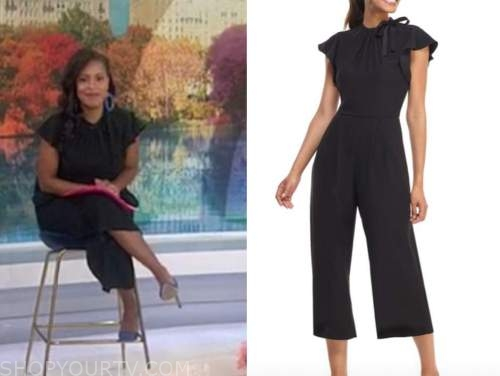 sheinelle jones, the today show, black flutter sleeve jumpsuit