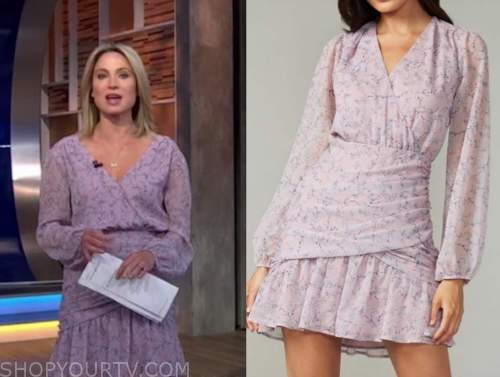 amy robach, lilac purple floral dress, good morning america