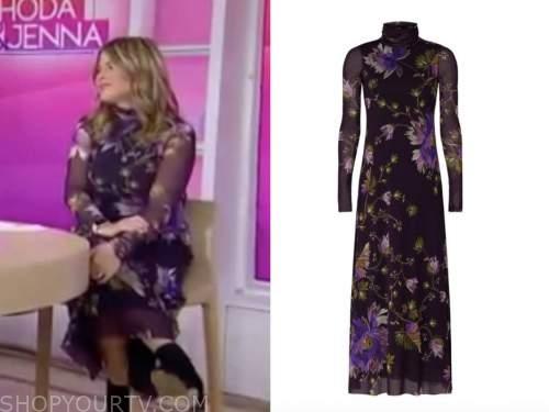 jenna bush hager, the today show, purple floral turtleneck dress