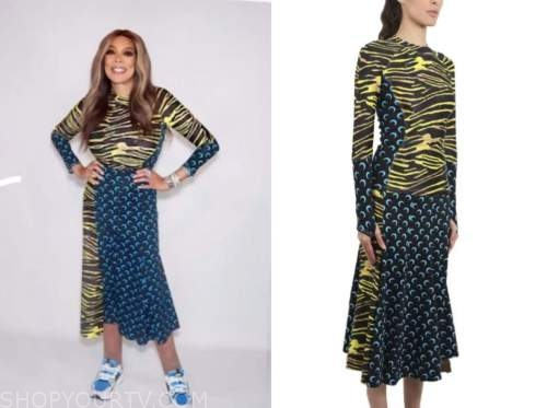 wendy williams, the wendy williams show, mixed print top and skirt dress