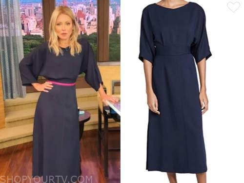 kelly ripa, live with kelly and ryan, navy blue dress, hot pink belt