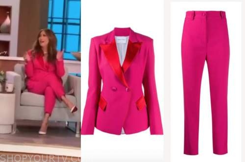 carrie ann inaba, the talk, pink and red blazer and pant suit