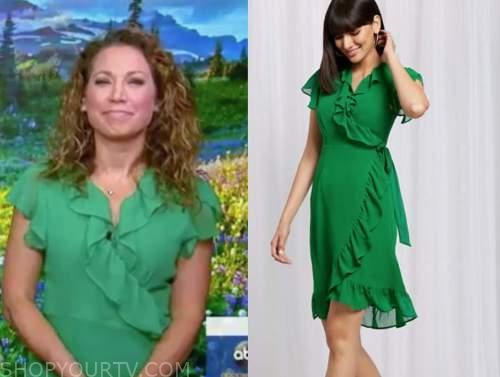 ginger zee, green ruffle dress, good morning america
