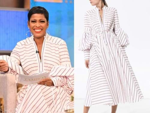 tamron hall, tamron hall show, red and white striped dress
